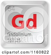 Clipart Of A 3d Red And Silver Gadolinium Chemical Element Keyboard Button Royalty Free Vector Illustration