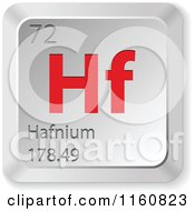 Clipart Of A 3d Red And Silver Hafnium Chemical Element Keyboard Button Royalty Free Vector Illustration