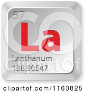 Clipart Of A 3d Red And Silver Lanthanum Chemical Element Keyboard Button Royalty Free Vector Illustration