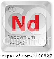 Clipart Of A 3d Red And Silver Neodymium Chemical Element Keyboard Button Royalty Free Vector Illustration