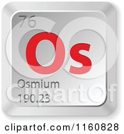 Clipart Of A 3d Red And Silver Osmium Chemical Element Keyboard Button Royalty Free Vector Illustration