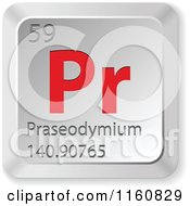 Clipart Of A 3d Red And Silver Praseodymium Chemical Element Keyboard Button Royalty Free Vector Illustration