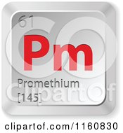 Clipart Of A 3d Red And Silver Promethium Chemical Element Keyboard Button Royalty Free Vector Illustration