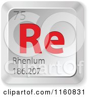 Clipart Of A 3d Red And Silver Rhenium Chemical Element Keyboard Button Royalty Free Vector Illustration