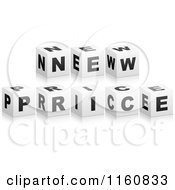 Clipart Of A 3d Black And White NEW PRICE Cubes Royalty Free Vector Illustration
