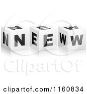 Clipart Of A 3d Black And White NEW Cubes Royalty Free Vector Illustration