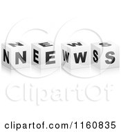 Clipart Of A 3d Black And White NEWS Cubes Royalty Free Vector Illustration