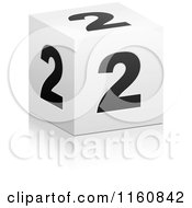 Clipart Of A 3d Black And White Number 2 Cube Royalty Free Vector Illustration by Andrei Marincas