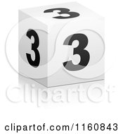 Clipart Of A 3d Black And White Number 3 Cube Royalty Free Vector Illustration by Andrei Marincas