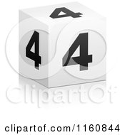 Clipart Of A 3d Black And White Number 4 Cube Royalty Free Vector Illustration by Andrei Marincas
