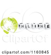 Clipart Of A 3d Black And White ONLINE Cubes With A Green Globe Royalty Free Vector Illustration