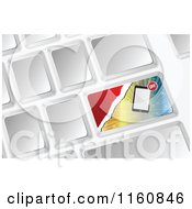 Clipart Of A 3d Computer Keyboard With A Tablet Sale Button Royalty Free Vector Illustration by Andrei Marincas