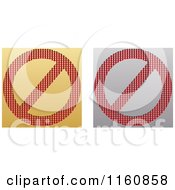Clipart Of Gold And Silver Restricted Icons Royalty Free Vector Illustration