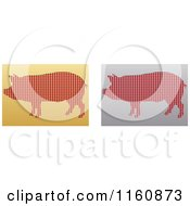 Clipart Of Gold And Silver Pig Icons Royalty Free Vector Illustration