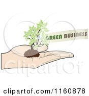 Clipart Of A Hand Holding A Green Business Plant Royalty Free Vector Illustration