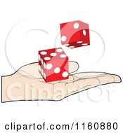 Clipart Of A Hand Holding Red Dice Royalty Free Vector Illustration by Andrei Marincas