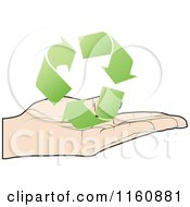 Clipart Of A Hand Holding Green Recycle Arrows Royalty Free Vector Illustration