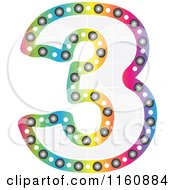 Clipart Of A Colorful Number Three With A Grid Fill Royalty Free Vector Illustration by Andrei Marincas