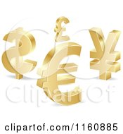 Clipart Of 3d Gold Curency Sybmols Royalty Free Vector Illustration