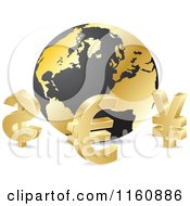 Clipart Of 3d Gold Curency Sybmols Around A Globe Royalty Free Vector Illustration