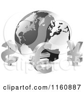 3d Silver Curency Sybmols Around A Globe