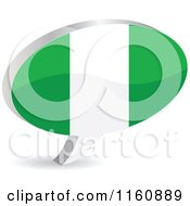 Clipart Of A 3d Nigeria Flag Chat Balloon Royalty Free Vector Illustration