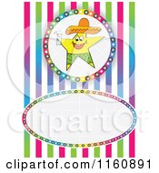 Clipart Of A Happy Star Mascot With A Beverage Over Stipes With Copyspace Royalty Free Vector Illustration