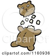 Cartoon Of A Ripped Teddy Bear And Stuffing Royalty Free Vector Illustration