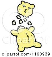 Cartoon Of A Ripped Yellow Teddy Bear And Stuffing Royalty Free Vector Illustration