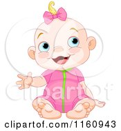 Cartoon Of A Happy Blond Caucasian Girl Sitting And Waving Royalty Free Vector Clipart