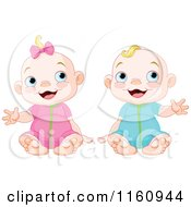 Cartoon Of A Happy Blond Caucasian Boy And Girl Sitting And Waving Royalty Free Vector Clipart