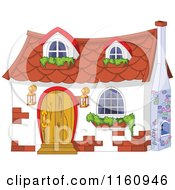 Cartoon Of A Cute White Cottage With Window Planters Royalty Free Vector Clipart by Pushkin