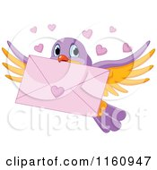 Cartoon Of A Cute Bird Flying With A Love Letter And Valentine Hearts Royalty Free Vector Clipart