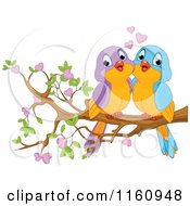 Cartoon Of Cute Valentine Love Birds On A Branch With Hearts Royalty Free Vector Clipart by Pushkin