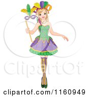 Cartoon Of A Festive Mardi Gras Woman Holding A Mask Royalty Free Vector Clipart by Pushkin
