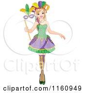 Festive Mardi Gras Woman Holding A Mask