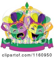 Cartoon Of Drama Mardi Gras Theater Masks With A Banner Royalty Free Vector Clipart