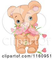 Cartoon Of A Cute Teddy Bear Holding Valentine Flower Hearts Royalty Free Vector Clipart
