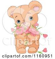 Cute Teddy Bear Holding Valentine Flower Hearts