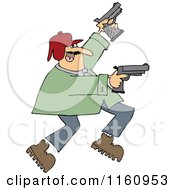 Cartoon Of A Man Running And Shooting Two Pistols Royalty Free Vector Clipart