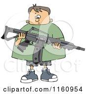 Cartoon Of A Nervous Caucasian Boy Holding An Assault Rifle Royalty Free Vector Clipart