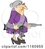 Cartoon Of A Senior Caucasian Woman Holding An Assault Rifle Royalty Free Vector Clipart