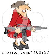Cartoon Of An Angry Brunette Caucasian Woman Holding An Assault Rifle Royalty Free Vector Clipart