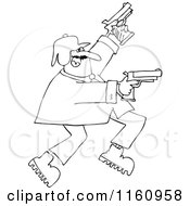 Cartoon Of An Outlined Man Running And Shooting Two Pistols Royalty Free Vector Clipart