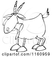 Cartoon Of An Outlined Goat Eating A Can Royalty Free Vector Clipart