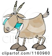 Cartoon Of A Goat Eating A Can Royalty Free Vector Clipart by djart