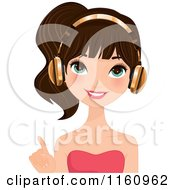 Pointing Pretty Brunette Woman Wearing Gold Headphones
