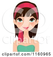 Clipart Of A Pretty Brunette Woman With Green Eyes And A Pink Headband Royalty Free Vector Illustration by Melisende Vector