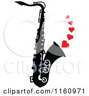 Cartoon Of A Black And White Saxophone With Red Hearts Royalty Free Vector Clipart