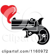 Cartoon Of A Pistol Shooting A Red Bubble Heart Royalty Free Vector Clipart
